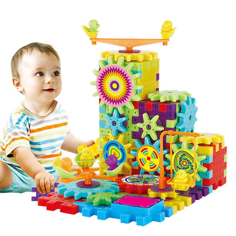 81 Pcs/ Set DIY Electric Building Blocks Bricks Toy Mechanical Gears Educational Assembling Toys Kids Gift High Quality FJ88
