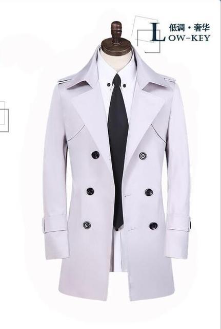 Barato del resorte de doble botonadura de color caqui trinchera abrigo hombres slim fit medio-largo ropa de hombre para hombre abrigo veste homme plus size S-9XL