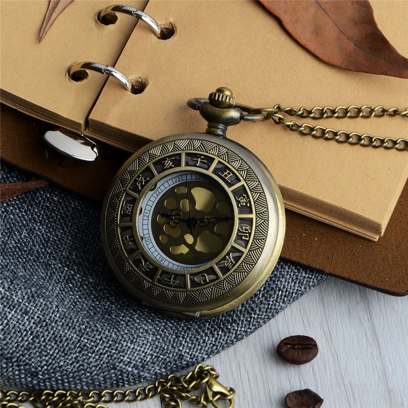 Vintage Bronze Times Quartz Pocket Watch Retro Copper Men Women Watch Necklace Pendant Chain Hours Clock Valentine's Day Gift new fashion bill cipher gravity falls quartz pocket watch analog pendant necklace men women kid watches chain gift retro vintage