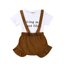2PCS Toddler Newborn Baby Kids Girl Clothes Tops T-shirt+Bib Pants Outfit Girl Summer Clothes Kids Set Clothing Ruffle Outfits kids toddler girl summer clothing set ruffle off shoulder t shirt top bow skirt tutu dress stripe baby clothes outfit