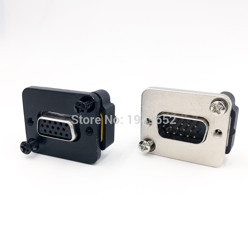 DB15 Data Cable Connector Plug VGA Plug Panel Mounting D Type Connector 3 Row 15pin Port Socket Female Male Adapter DP15