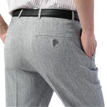 Mu Yuan Yang męska garnitur spodnie nowości pościel letni garnitur spodnie Business Casual cienki kombinezon spodnie męskie płaskie proste spodnie 42 44 tanie i dobre opinie muyuanyang CN (pochodzenie) 32384 Linen Mieszkanie Smart Casual Zipper fly