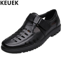 Summer Men shoes Classics luxury Dress Sandals Hook Loop Split Leather Casual Loafers Father Hollow shoes