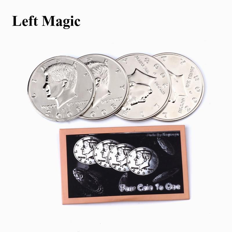 Four Coin To One Big Half Dollar( Diameter 5.6 Cm) Magic Tricks 1 Coins+3 Shell Half Dollar Expanded Shell Dollars Coin Magic