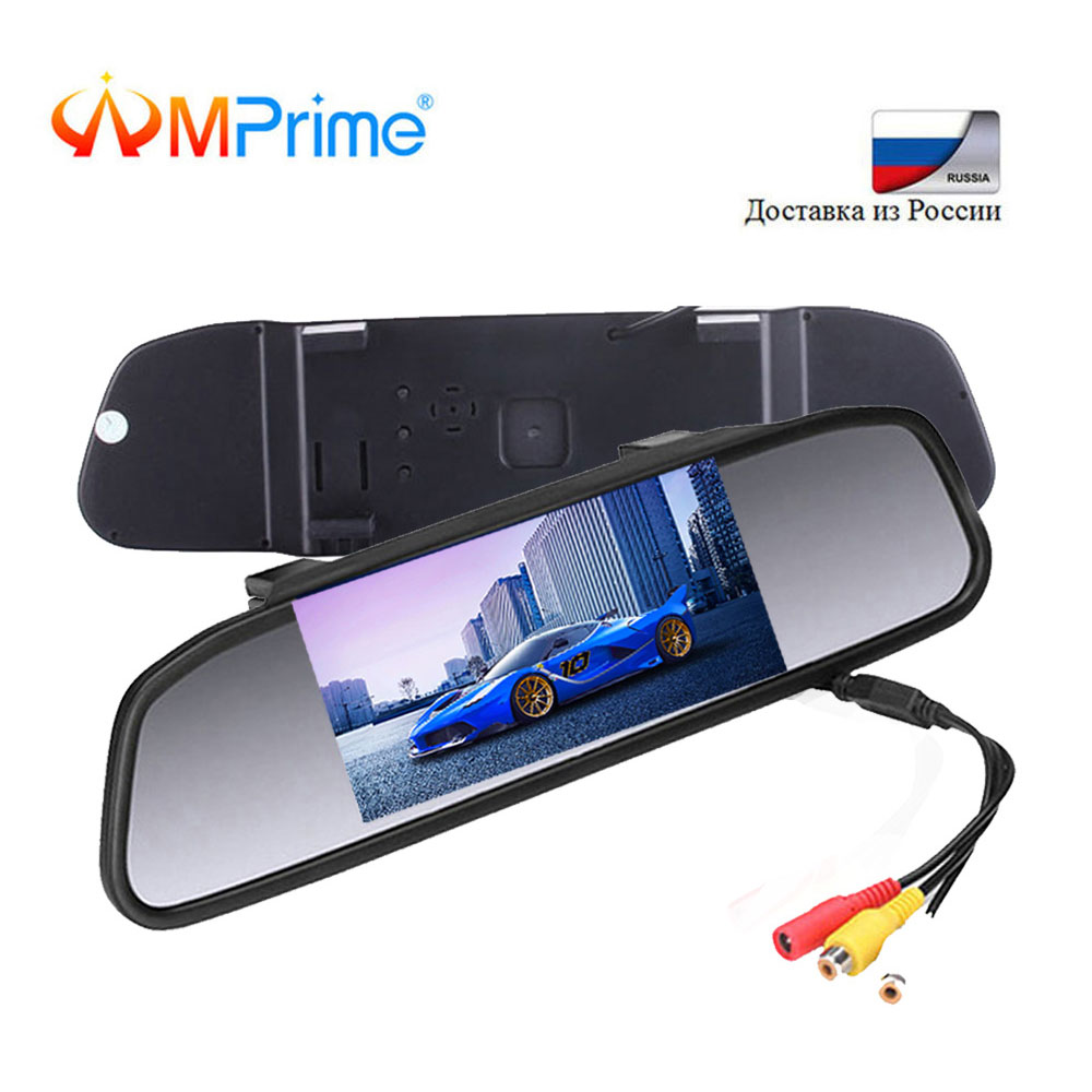 AMPrime 4.3 Digital Color TFT LCD Car Parking Rearview Mirror Monitor 2 Video Input For Rear Camera Parking Assistance SystemAMPrime 4.3 Digital Color TFT LCD Car Parking Rearview Mirror Monitor 2 Video Input For Rear Camera Parking Assistance System