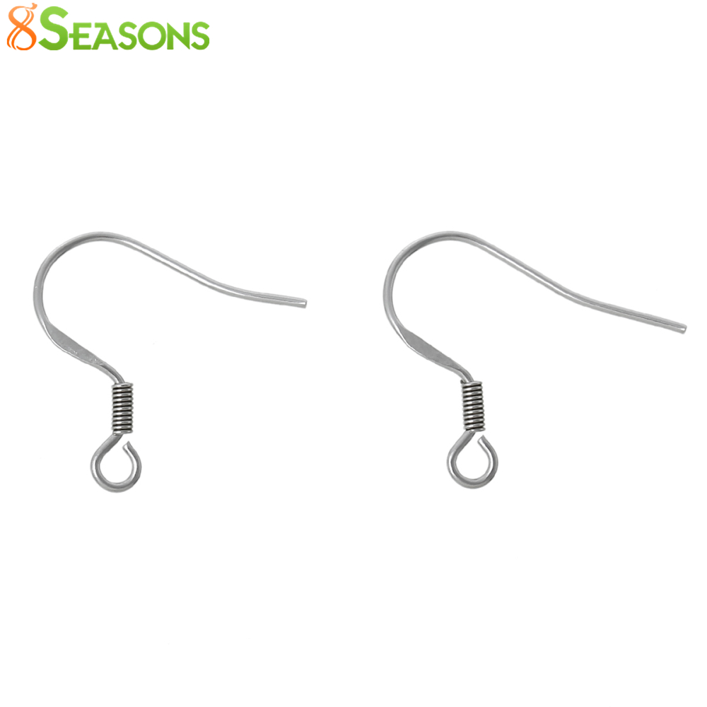 8SEASONS Stainless Steel Earring Components Hooks U-shaped Silver Tone 20mm( 6/8) x 17mm( 5/8),50 Pairs 2016 new
