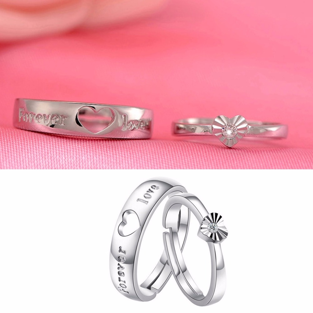JAVRICK Silver Zircon Heart Couple Rings Wedding Band His Her ...