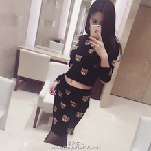 new MOS Cartoon Bear Pattern in Europe and the United States and the Pattern of Knitted Fashion Shirt + Skirt Suit