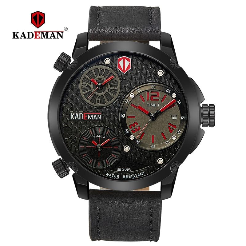 Kademan 남성용 시계 빅 다이얼 3 시간대 패션 비즈니스 럭셔리 브랜드 로즈 골드 방수 가죽 relogio masculino 6100-에서수정 시계부터 시계 의  그룹 2