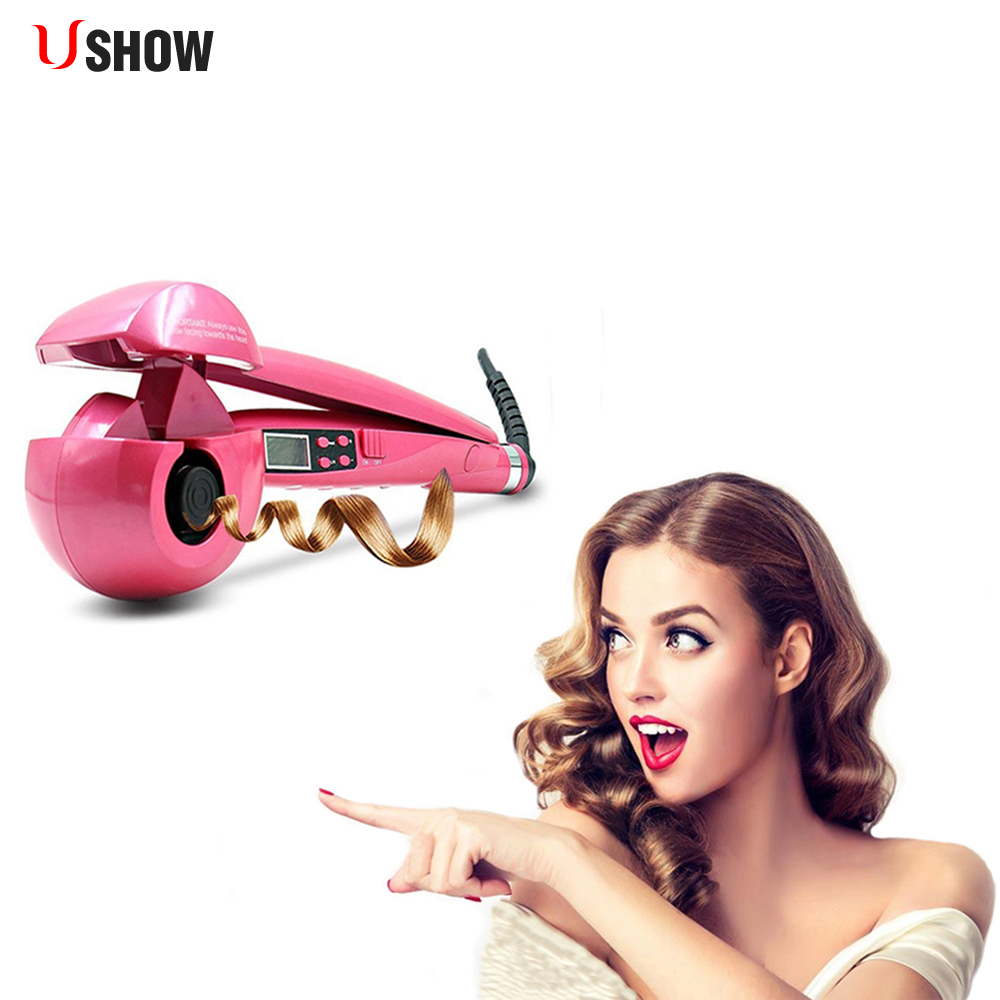 USHOW Automatic Hair Curler Pro Ceramic Hair Curling Iron Magic Wave Curl Roller Curling Wand Hair Styler ckeyin 9 31mm ceramic curling iron hair waver wave machine magic spiral hair curler roller curling wand hair styler styling tool