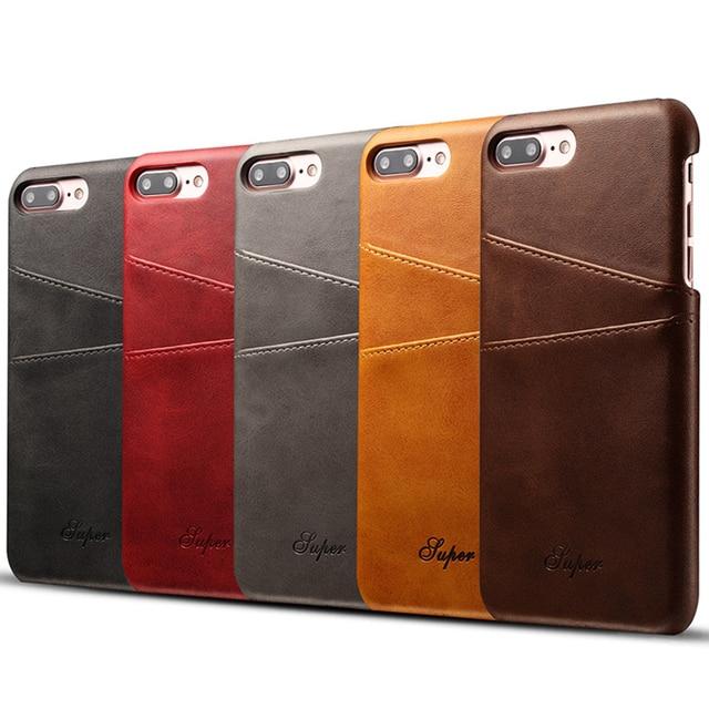 Роскошный кожаный бумажник чехол для iPhone 7 Plus чехол для iPhone 6 6S плюс Бизнес держатель карты задняя крышка телефонные Чехлы для Для мужчин