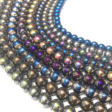 Natural Stone Hematite Beads Round Loose Semi Plating Color 6mm 8mm For DIY Necklace Bracelet Jewelry Making Pick Size15
