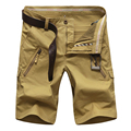 2017 Casual Shorts Men Summer Cotton Solid Cargo Mens Military Shorts (Asian Size)