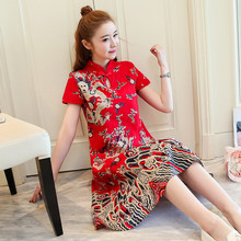 Improved Cheongsam Summer Dress Women's Clothing Chinese National Wind Cotton and Linen Dresses Stand Collar Large Size 4XL