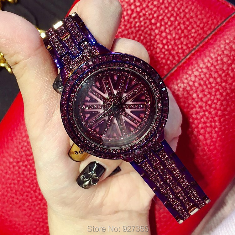 2018 New Women Stainless Steel Watch Lady Shining Rotation Dress Watch Big Diamond Stone Wristwatches Purple Watch Clocks Hours
