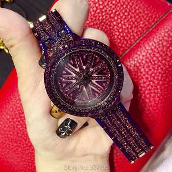 2019 New Women Stainless Steel Watch Lady Shining Rotation Dress Watch Big Diamond Stone Wristwatches Purple Watch Clocks Hours - DISCOUNT ITEM  29% OFF All Category