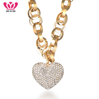 2018 nuevo lujo CZ cristal corazón colgante collar círculos cadena femenina oro plata collar joyería regalo de San Valentín