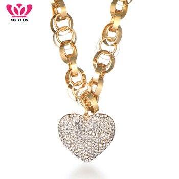 2018 nuevo lujo CZ cristal corazón colgante collar círculos cadena oro plata declaración collar joyería regalo de San Valentín