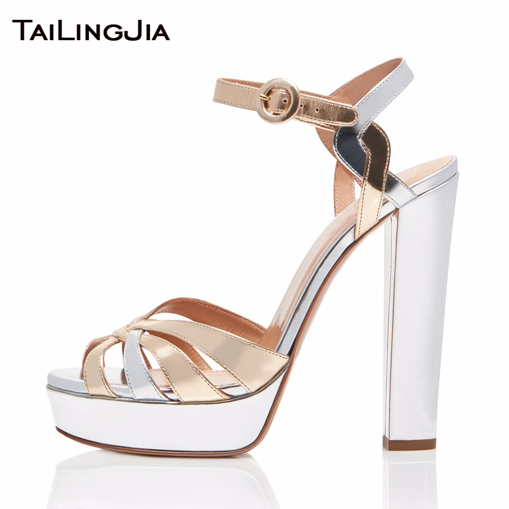 Gold Mixed Silvery Summer Woman Sandals Platform Peep Toe Ladies Shoes Supper High Heel Block Heel Female Shiny Patent Leather