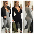 2016Black women complete jumpsuit sexy tight long-sleeved vestido  a jumpsuit overalls women