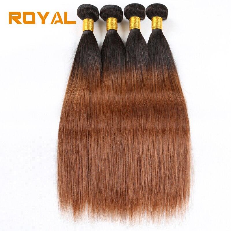 Предварительно цветные индийский прямые волосы 3/4 шт волна пучки Ombre 100% человеческих волос T1B/30 Blonde расширение номера -Реми Королевский воло...