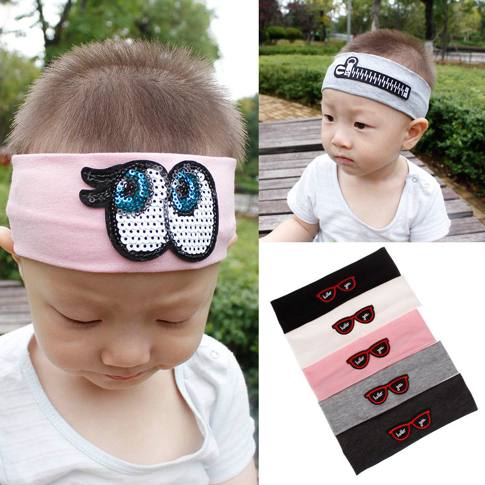 Baby Boy Girls Embroidery Headband Knitted Cotton Children Girls Elastic Hair Bands Turban Bows For Girl Headbands Accessories