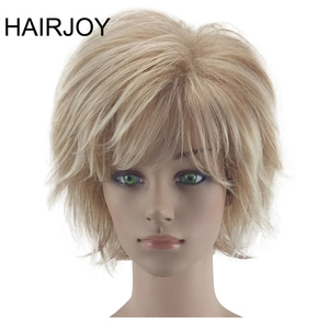 Image 1 - HAIRJOY White Women Synthetic Hair Wigs Blonde Short Curly Wig Heat Resistant  Hairstyle 2 Colors Available Free Shipping