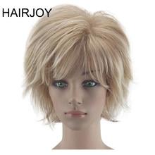 HAIRJOY לבן נשים סינטטי שיער פאות בלונד קצר מתולתל פאת חום עמיד תסרוקת 2 צבעים זמינים משלוח חינם