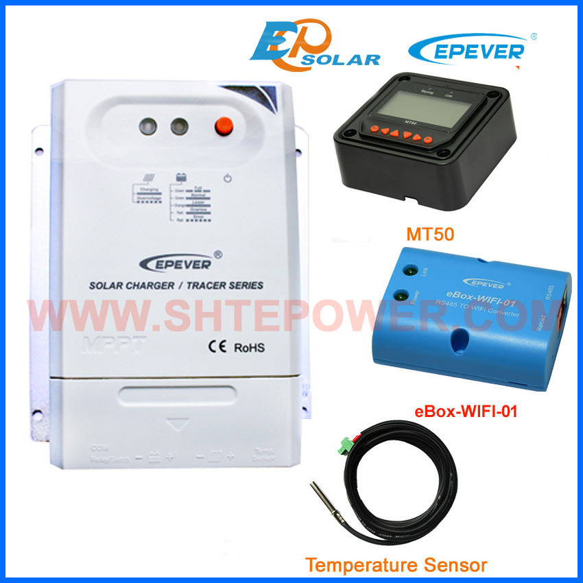 20A MPPT charge controller wifi function Tracer2210CN solar panels regulator with MT50 remote meter+temperature sensor tracer mppt 30a solar charge controller lcd12 24v solar panel solar regulator epsolar gel battery option with remote meter mt50