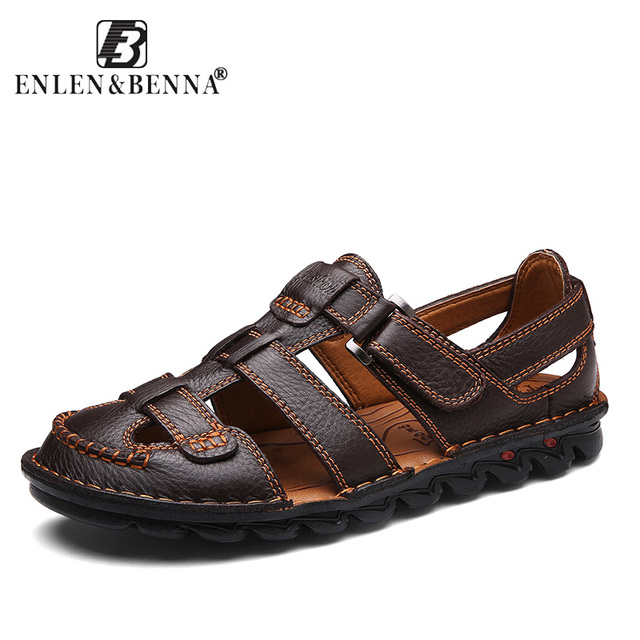 89e5d09513a3 Summer Sandals Men Leather Classic Roman Sandals 2018 Slipper Outdoor  Sneaker Beach Rubber Flip Flops Men Water Trekking Sandals