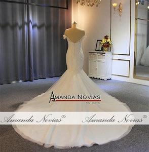 Image 3 - Off the shoulder straps mermaid wedding dress long train mariage