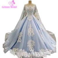 2017 реальные фотографии синий бальное платье свадебное платье с длинным шлейфом Роскошные Кружево Кристаллы бисера Свадебные платья накидк