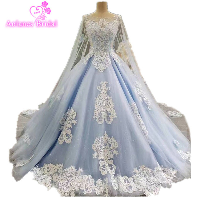 2017 Real Photos Blue Ball Gown Wedding Dress Long Train