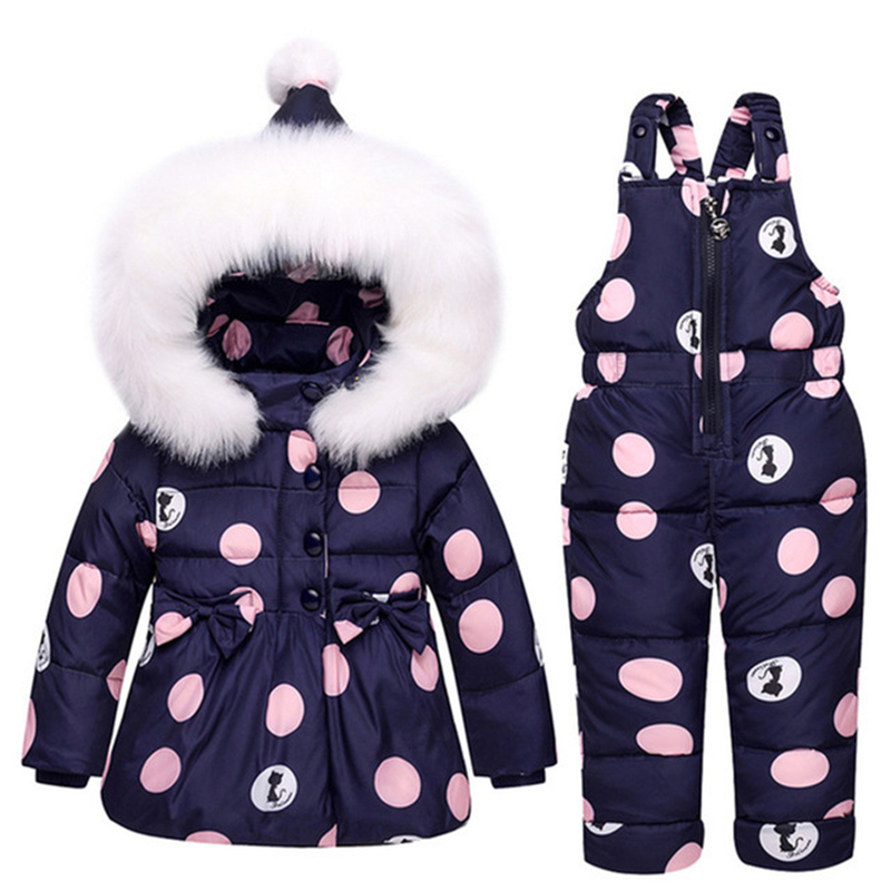 Baby Winter Snowsuit Warm Duck Down Winter Overalls for Girls Boys Bowknot Polka Dot Hoodies Jacket and Jumpsuit Clothes Suit