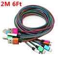 Free shipping 2m 6FT aluminium Alloy Micro V8 fabric nylon braided usb data cable for samsung galaxy s3 s4 s6 for htc