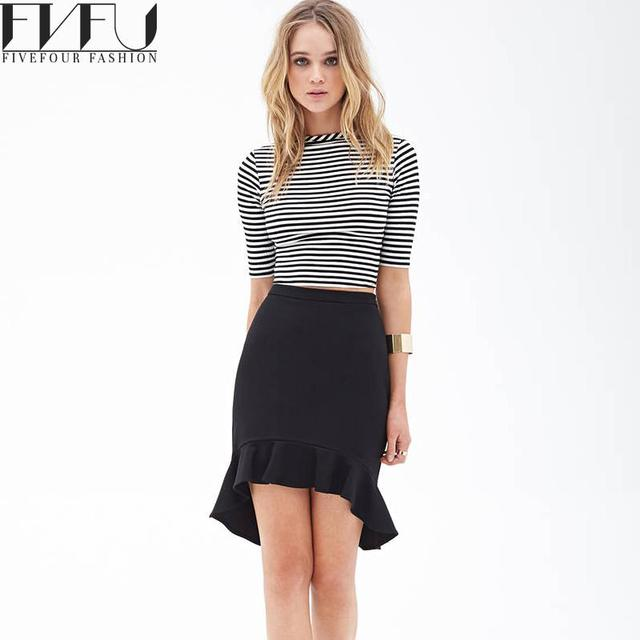 36981603b46 New Fashion Summer Style Skirt Women 2018 Solid Color Black Pencil Skirt  High Low Flounced Hem Casual Vintage Skirt Plus Size
