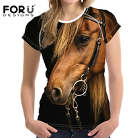 FORUDESIGNS Women 3D Horse Short Sleeved T Shirt Wholesale Casual Woman Summer Tops Female Shirts Feminine