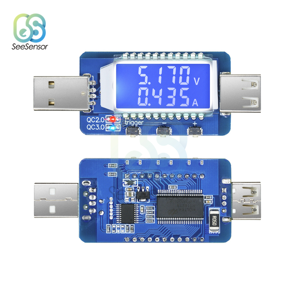 QC2.0 QC3.0 4V-28V Electrical Scam Power Trigger LCD Digital USB Detector Tester Voltmeter Ammeter Voltage Current Meter Tester