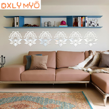 2 pieces/pack wall sticker flower selected elegant blooming lotus 3D decorative mirror stickers restaurant store decor