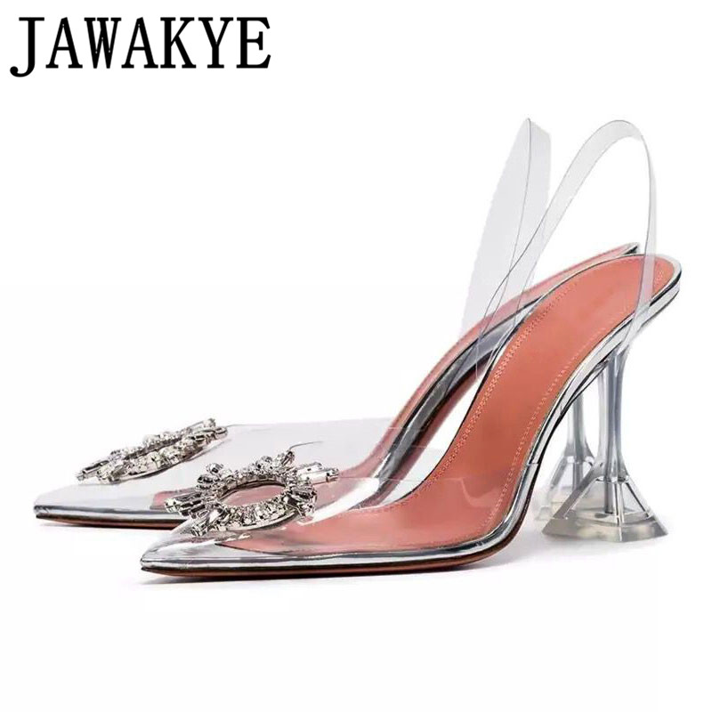Transparent PVC sandals women pointed clear crystal cup high heel stilettos sexy pumps 2019 new summer