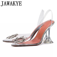 Transparent PVC sandals women pointed clear crystal cup high heel stilettos sexy pumps 2019 new summer shoes women