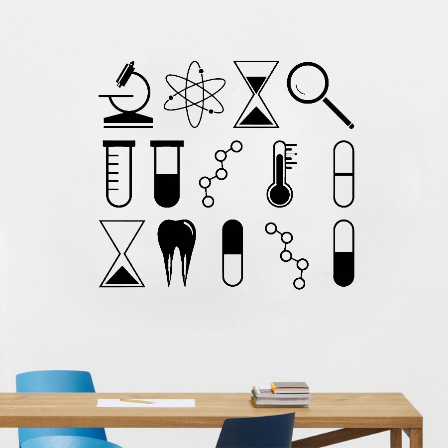 Diy removable science wall art stickers university school laboratory chemistry vinyl decal mural classroom home decoration s516