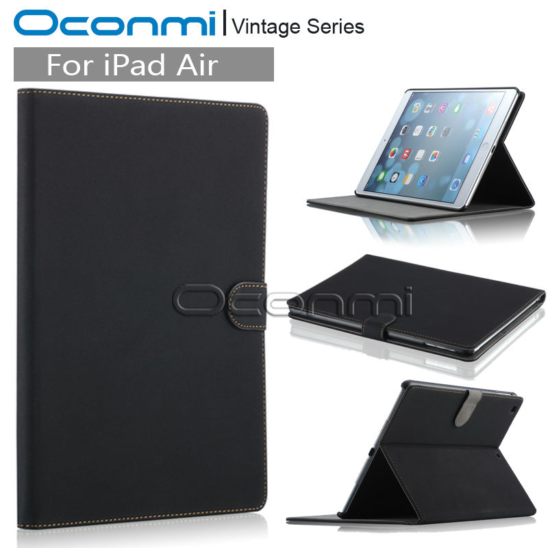 Vintage Leather case for Apple iPad air with stand flip leather cover smart case for iPad 5 credit card slots wallet sleeves new luxury tablet case cover for apple ipad air 2 pu leather flip case wallet card stand cover for ipad 6 ipad air2 with holder