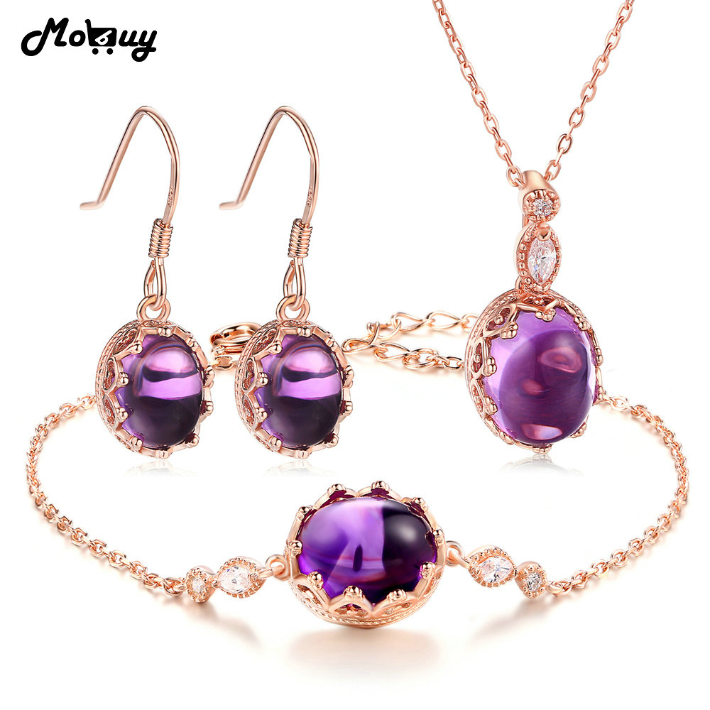 MoBuy Amethyst Natural Gemstone 4pcs Jewelry Sets 100% 925 Sterling Silver Vintage Fine Jewelry For Women Party V031EHNMoBuy Amethyst Natural Gemstone 4pcs Jewelry Sets 100% 925 Sterling Silver Vintage Fine Jewelry For Women Party V031EHN