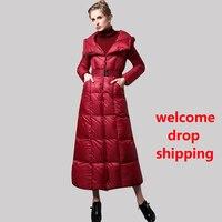 DF High Quality Cotton Wool Big Coat Women Winter Parka Plus Size X long Jacket Warm Overcoat With Belt Red Outwear Cap 6409
