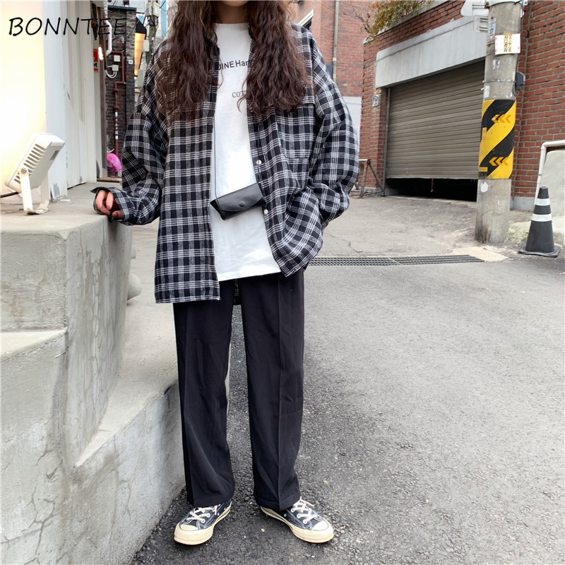 Shirts Women Korean Style Plaid Loose Retro All Match High Quality Womens Comfortable Trendy Student Leisure Turn-down Collar