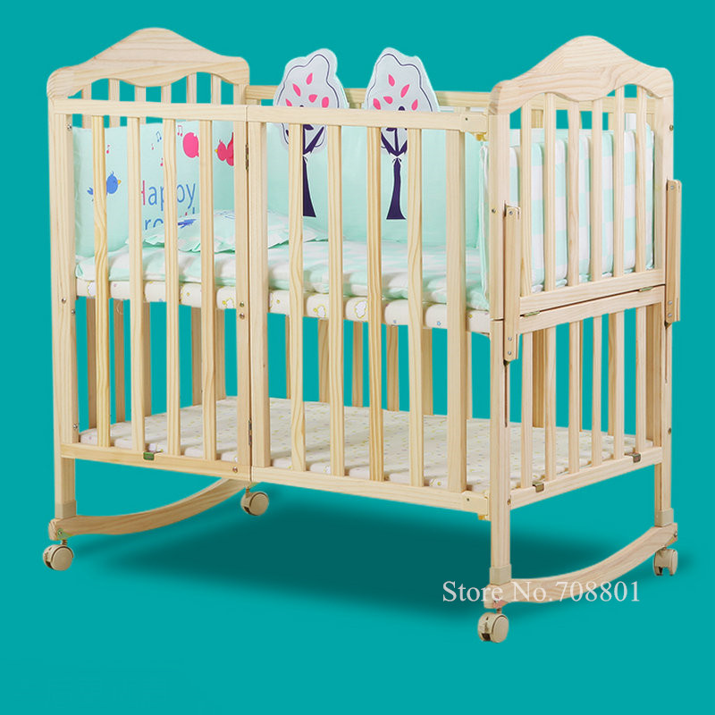 Pine Wood Baby Crib With 4 Wheels, Half Combine With Adult Bed, No Paint Baby Bed, Can Extend To 150cm Length Baby Cot