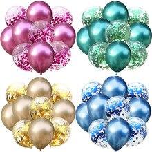 Воздушные шары «Конфетти» 10 шт./лот, смешанные, золотые, металлические, для украшения дня рождения, воздушный шар, украшение для вечевечерни...