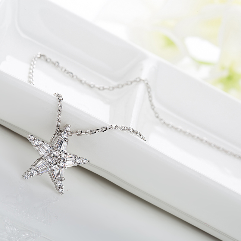 LUOTEEMI 2015 Newest Luxury AAA White CZ Crystal Star Pendant Necklace Party Wedding Jewelry for Women Wedding in Pendant Necklaces from Jewelry Accessories