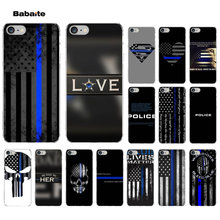 Babaite Garis Biru Tipis Polisi Novelty Fundas Phone Case Cover UNTUK iPhone 8 7 6 6S PLUS 5 5S SE XR X XS Max Coque Shell(China)